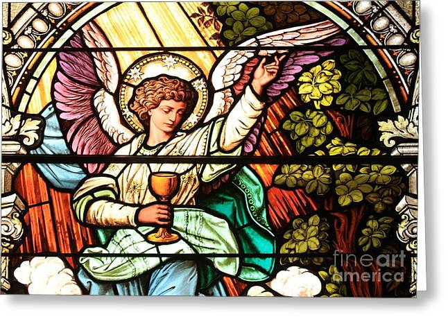 Angel With A Chalice Greeting Card by Adam Jewell