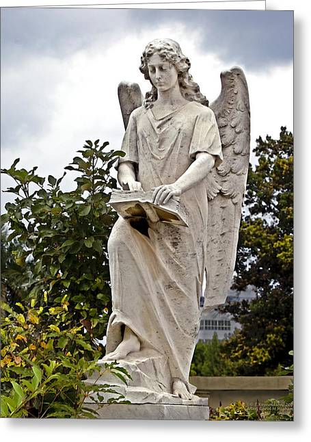 Angel With Book Greeting Card by Terry Reynoldson