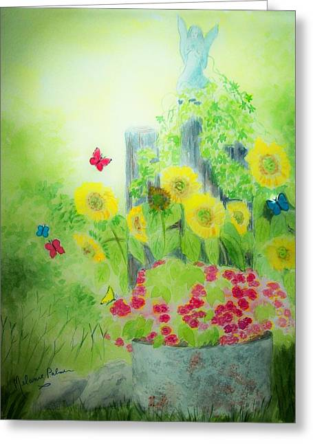 Angel With Butterflies And Sunflowers Greeting Card by Melanie Palmer