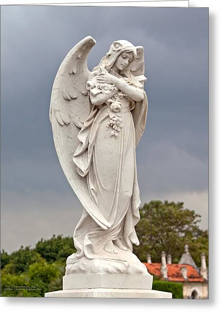 Angel With Cross Greeting Card by Terry Reynoldson