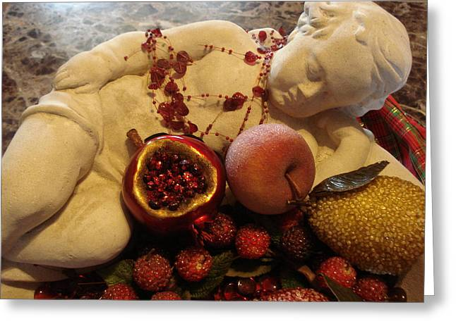 Angel With Fruit Greeting Card