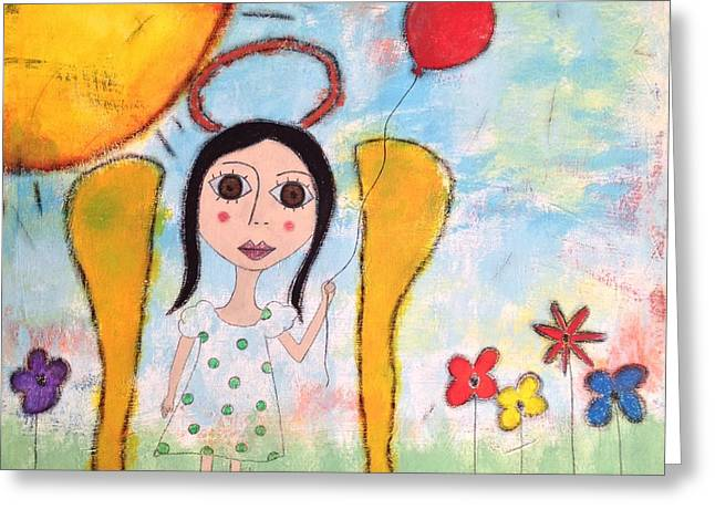 Angel With Red Balloon  Greeting Card by Dina Noel