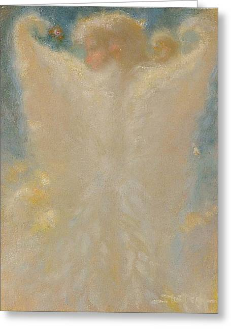 Angel With Wings From Behind Greeting Card by John Murdoch