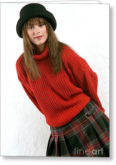 Angela Plaid Skirt Greeting Card by Gary Gingrich Galleries