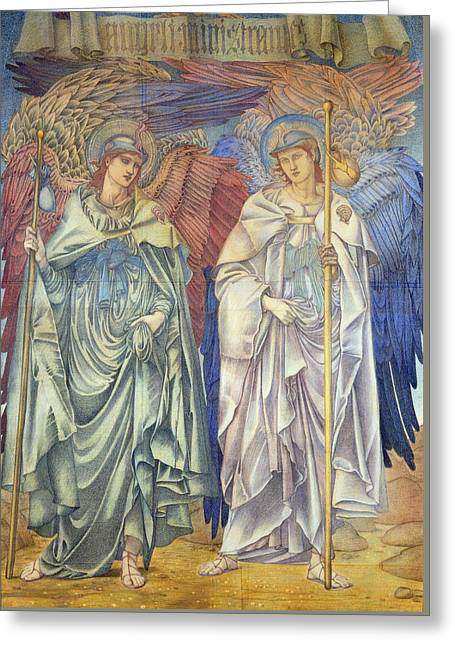Angeli Ministrantes Greeting Card by Sir Edward Coley Burne-Jones