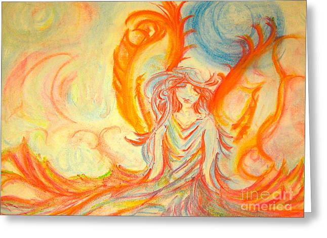 A Rainbow Of Thought Greeting Card by Heather  Hiland