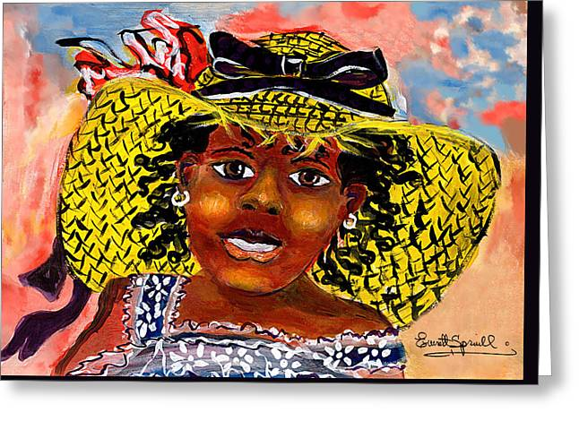 Angelina Greeting Card by Everett Spruill