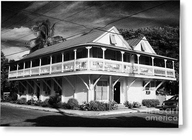 Angelina Guest House Typical Construction Wooden Large House Old Historic District Key West Florida  Greeting Card by Joe Fox