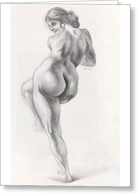 Angelina In 5b Standing Nude Leaning Onto An Art-studio Pedestal Laughing Softly Greeting Card by Scott Kirkman