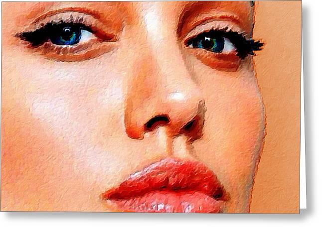Angelina Jolie Acrylic On Canvas Greeting Card