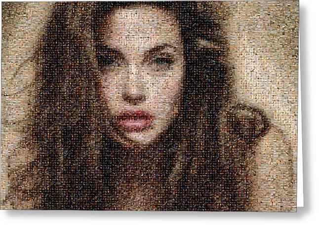Angelina Jolie Mosaic Greeting Card by Bijan Studio