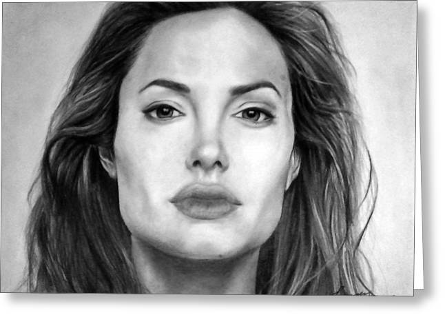 Angelina Jolie Original Pencil Drawing Greeting Card by Murni Ch
