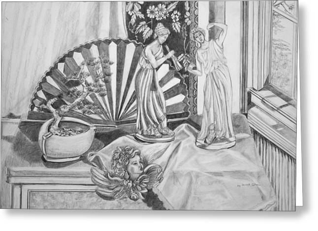 Angels And Greek Goddess Greeting Card by Susan Culver