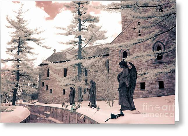 Angels And Religious Statues Winter Churchyard - Angel Statues With Jesus Churchyard Winter Scene Greeting Card by Kathy Fornal