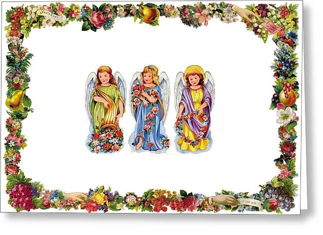 Angels And Roses Greeting Card by Munir Alawi