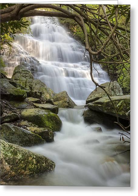 Angels At Benton Waterfall Greeting Card by Debra and Dave Vanderlaan