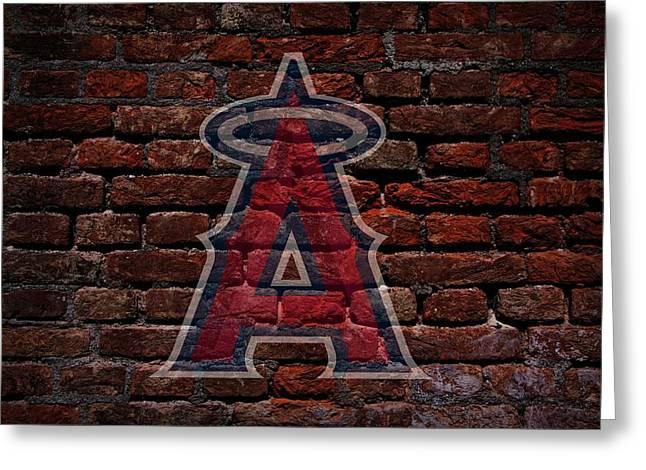 Angels Baseball Graffiti On Brick  Greeting Card