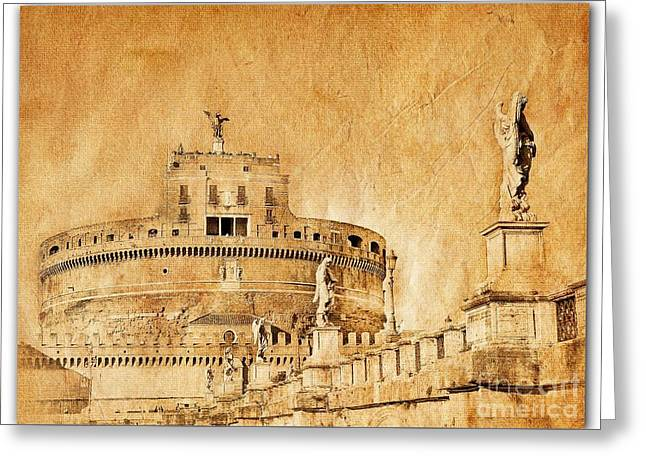 Angels Bridge And Castle Greeting Card by Stefano Senise