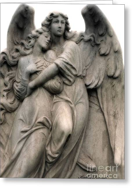 Angels Embracing - Angels Dreamy Romantic Angel Art - Guardian Angel Art  Greeting Card by Kathy Fornal