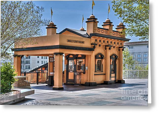 Angels Flight Landmark Funicular Railway Bunker Hill Greeting Card by David Zanzinger