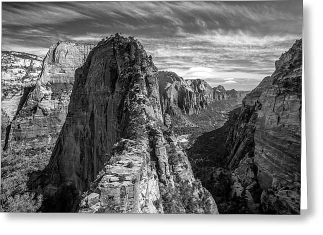 Angel's Landing In Black And White Greeting Card