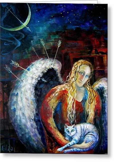 Angels Of Zodiac. Sagittarius The Archer Centaur Greeting Card by Elisheva Nesis
