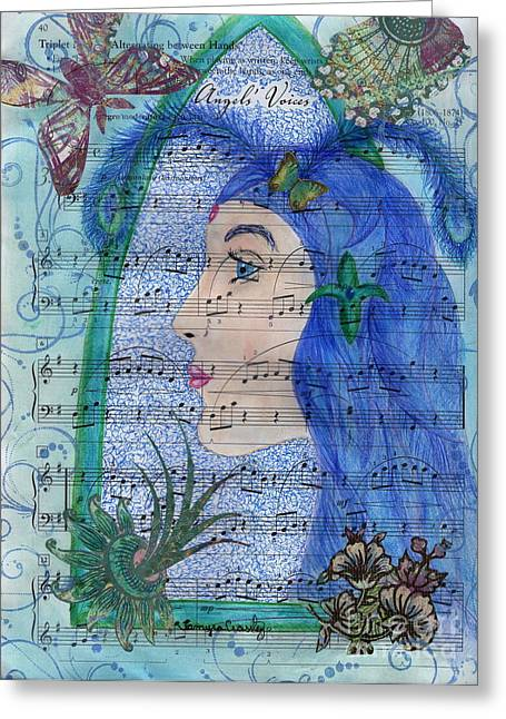 Greeting Card featuring the drawing Angel's Voices by Tamyra Crossley
