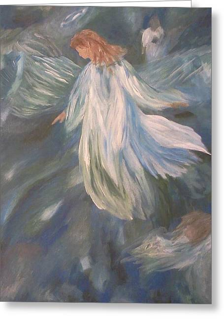 Angels Watching Over Us Greeting Card by Christy Saunders Church