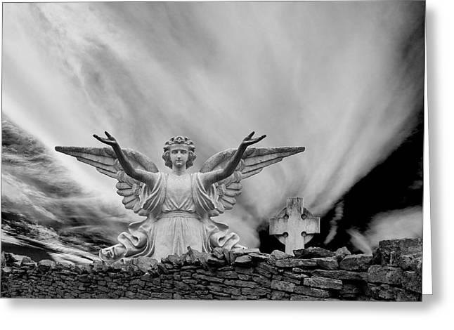 Angels Welcome Greeting Card by Wendell Thompson