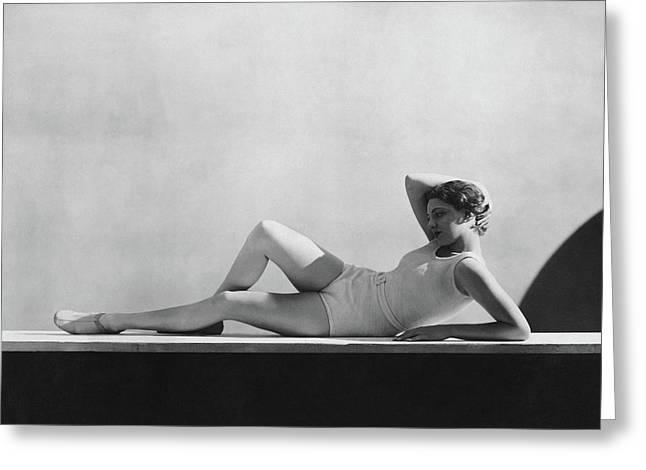 Angeta Fischer In Schiaparelli Greeting Card by George Hoyningen-Huen?