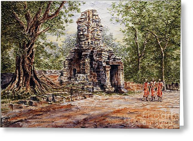 Greeting Card featuring the painting Angkor Temple Gate by Joey Agbayani