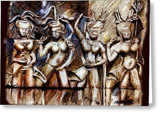 Angkor Wat - Apsara Greeting Card by Daliana Pacuraru