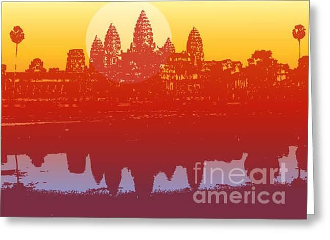 Angkor Wat In Sunset Vector - Greeting Card