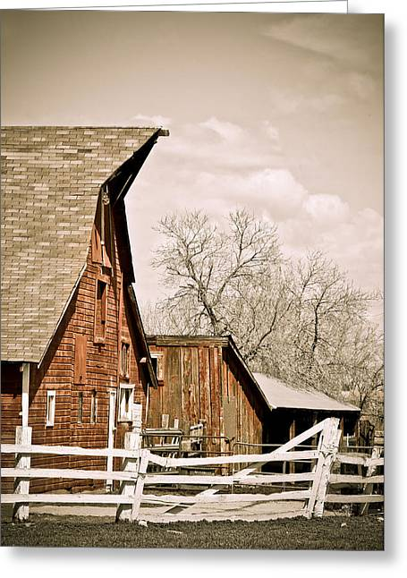 Angle Top Barn Greeting Card by Marilyn Hunt