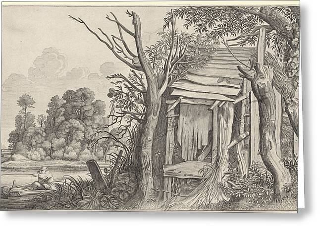 Angler In A Dilapidated Hut In A Landscape Greeting Card
