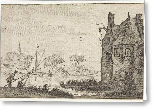 Anglers In A Fortified House On A River, Hendrik Spilman Greeting Card