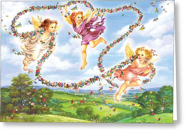 Angels Greeting Card by Zorina Baldescu