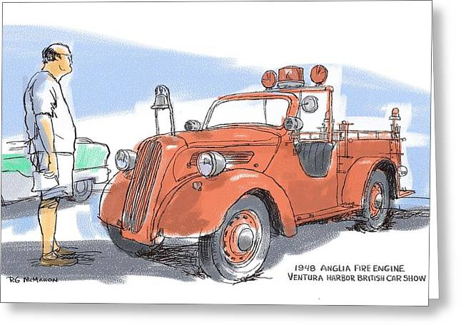 Anglia Fire Engine Greeting Card