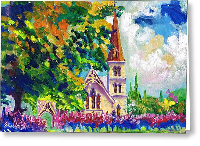 Anglican White Church In Summer Greeting Card