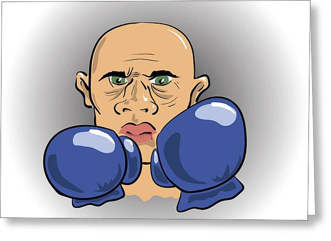 Angry Boxer Greeting Card by Valerii Stoika
