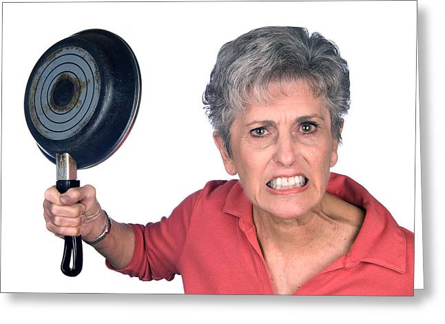 Angry Mother And Frying Pan Greeting Card