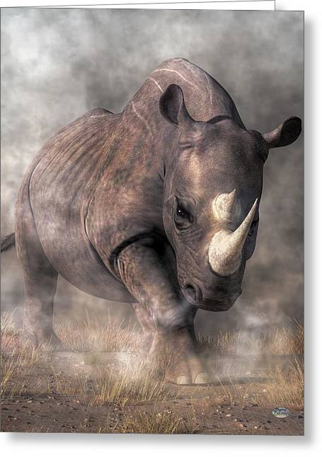 Angry Rhino Greeting Card