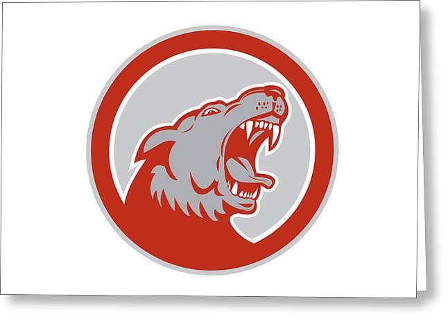 Angry Wolf Wild Dog Head Circle Retro Greeting Card by Aloysius Patrimonio