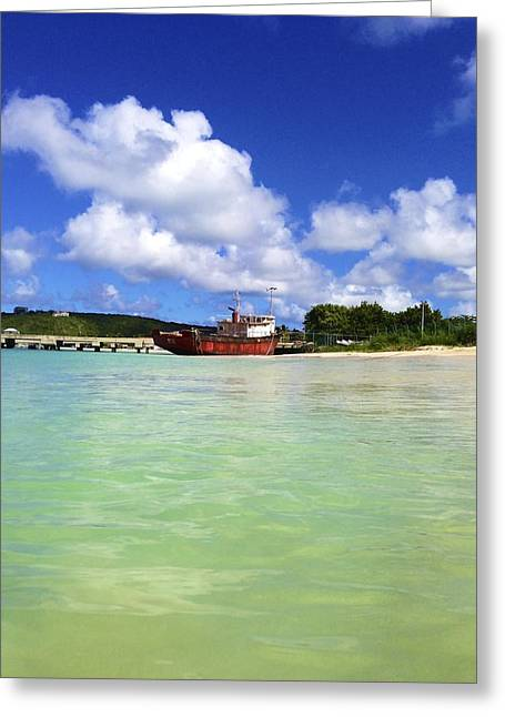 Anguilla Mr. Teds Boat Greeting Card by Jennifer Lamanca Kaufman