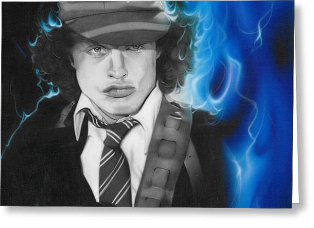 Angus Young - ' Angus ' Greeting Card by Christian Chapman Art