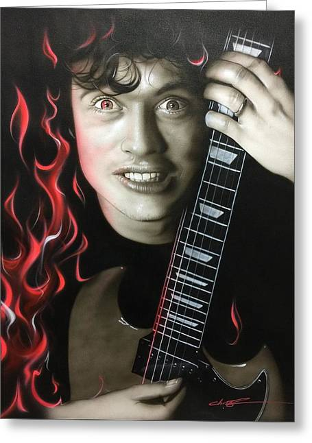 Angus Young - ' Angus On Fire ' Greeting Card