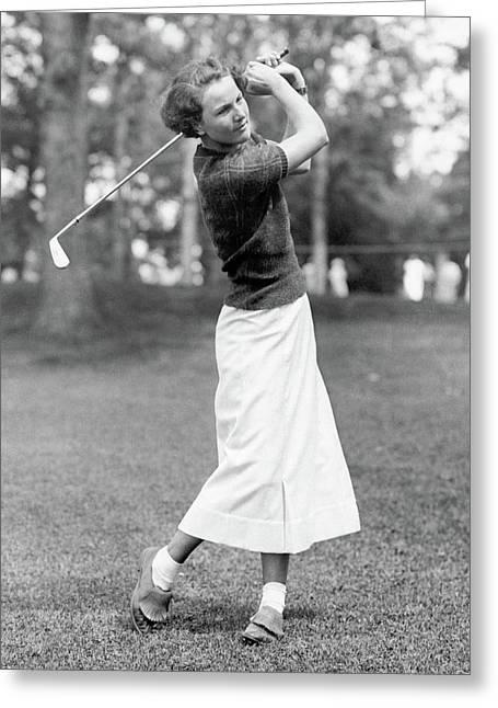 Aniela Gorczyca Playing Golf Greeting Card by Artist Unknown