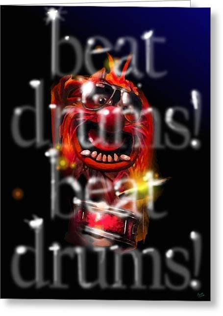 Animal Beats Drums Greeting Card