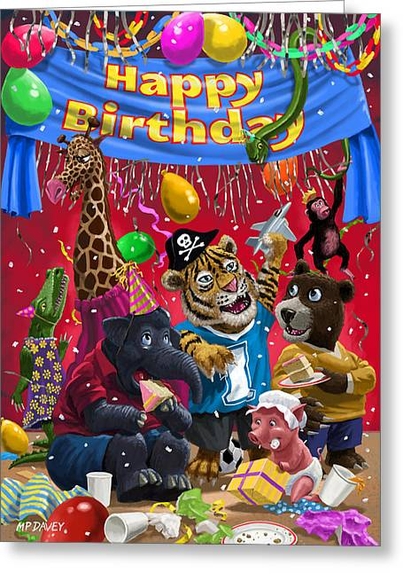 Animal Birthday Party Greeting Card by Martin Davey