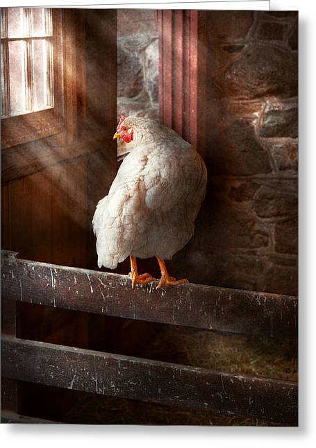 Animal - Chicken - Lost In Thought Greeting Card by Mike Savad